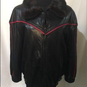 Jackets & Blazers - Mink Blk/red snakeskin leather reversible jkt sz L